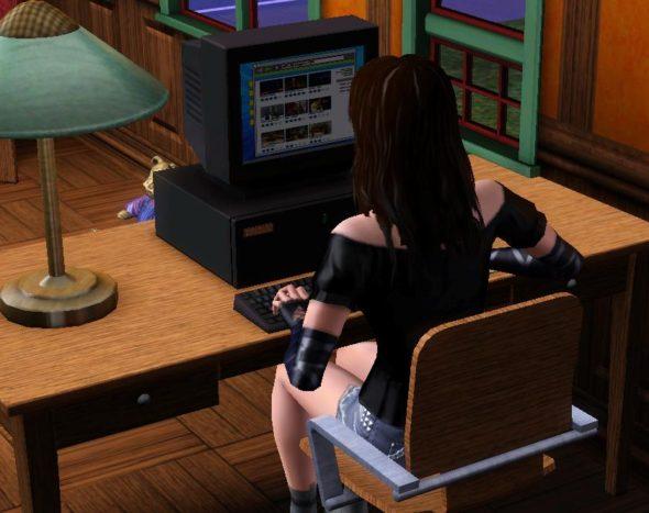 Die Sims 3 - Surfen im Internet am Bibliothekscomputer