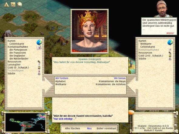 Tauschgeschäft mit den Spaniern im Civilization 3 Szenario